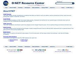 O*NET Resource Center - About O*NET