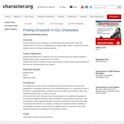 Finding Character in Our Characters (Grades K-12)
