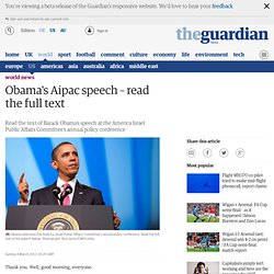 Obama's Aipac speech – read the full text | World news