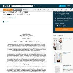 Obama on Egypt