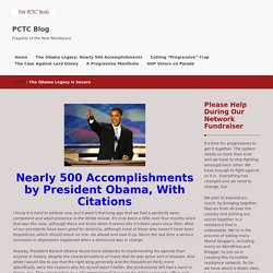 Obama's Legacy: Nearly 450 Accomplishments, With Citations