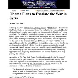 Obama Plans to Escalate the War in Syria