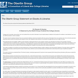 The Oberlin Group Statement on Ebooks & Libraries | The Oberlin Group - Waterfox