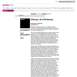 Obituary: Sir H M Stanley