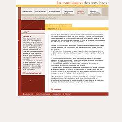 Objectifs de la loi - Commission des sondages (opinion, election)