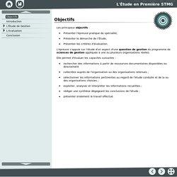 Objectifs [L'Étude en Première STMG]