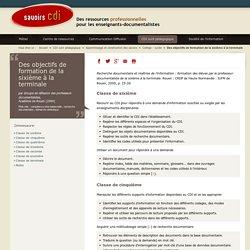 Savoirs CDI: Des objectifs de formation de la sixième à la terminale