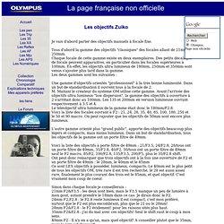 les Objectifs Zuiko sur la page Olympus non officielle française