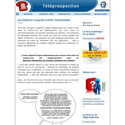 Des EXEMPLES d'objectifs d'APPEL TELEPHONIQUE - TELEPROSPECTION