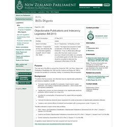 Objectionable Publications and Indecency Legislation Bill 2013: Bills Digest No 2091