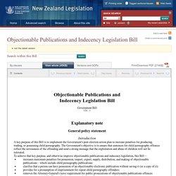 ObjectionablePublications and IndecencyLegislationBill 124-1 (2013), Government Bill