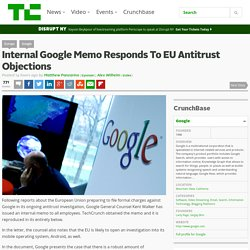 Internal Google Memo Responds To EU Antitrust Objections