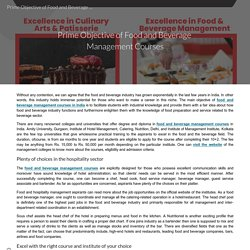 Prime Objective of Food and Beverage Management Courses