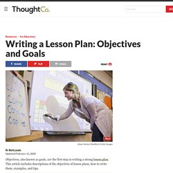 Objectives and Goals of a Lesson Plan