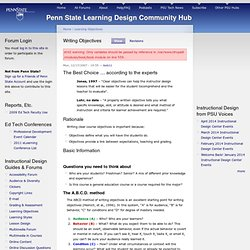 Writing Objectives | Penn State Learning Design Community Hub