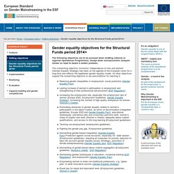 Gender equality objectives for the Structural Funds period 2014+