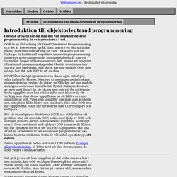 Artiklar - Introduktion till objektorienterad programmering
