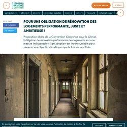9 fév. 2021 Pour une obligation de rénovation des logements performante, juste et ambitieuse !
