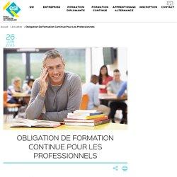 Obligation de formation continue pour les professionnels - ESI