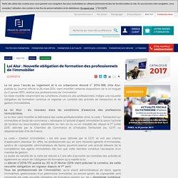 Loi Alur : Nouvelle obligation de formation des professionnels de l'immobilier