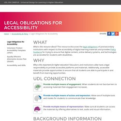 UDL On Campus: Legal Obligations for Accessibility