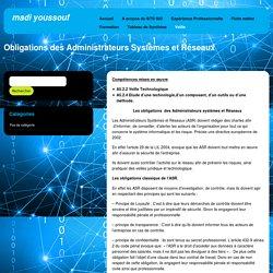 Obligations des Administrateurs Systèmes et Réseaux