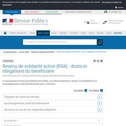 Revenu de solidarité active (RSA) : droits et obligations du bénéficiaire