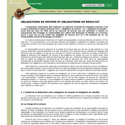 OBLIGATIONS DE MOYENS ET OBLIGATIONS DE RESULTAT