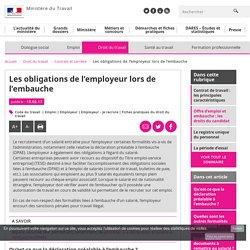 Les obligations de l'employeur lors de l'embauche - Contrats et carrière