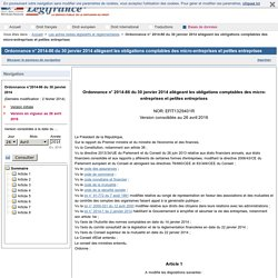 Ordonnance n° 2014-86 du 30 janvier 2014 allégeant les obligations comptables des micro-entreprises et petites entreprises