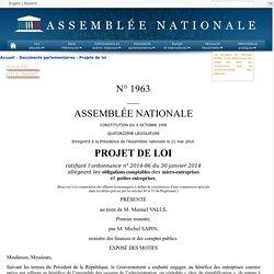 N°1963 - Projet de loi ratifiant l'ordonnance n° 2014-86 du 30 janvier 2014 allégeant les obligations comptables des micro-entreprises et petites entreprises