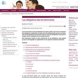 Les obligations des fonctionnaires (Notions-Cles.Lesobligationsdesfonctionnaires) - CNFPT