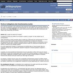 Droits et obligations des fonctionnaires (suite).