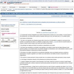Loi n° 83-634 du 13 juillet 1983 portant droits et obligations des fonctionnaires. Loi dite loi Le Pors. - Article 25 septies