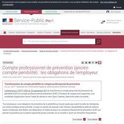 Compte pénibilité : les obligations de l'employeur - professionnels