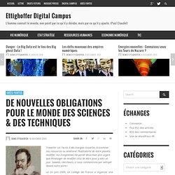 Digital Campus » De nouvelles obligations pour le monde des Sciences & des Techniques