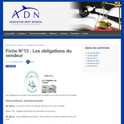 Fiche N°13 : Les obligations du vendeur – ADN Dauphine