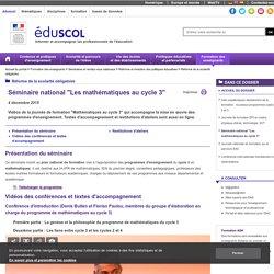 """Les mathématiques au cycle 3 - Séminaire national """"Les mathématiques au cycle 3"""""""