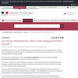 Un auto-entrepreneur doit-il être obligatoirement assuré? - professionnels