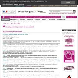 Épreuves obligatoires de langues vivantes - MENE1009658A