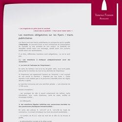 Les mentions obligatoires sur les flyers / tracts publicitaires « Vanessa Frasson, Avocate au Barreau de Béziers