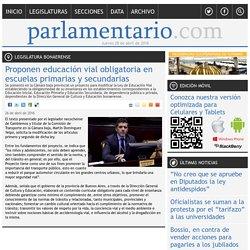Proponen educación vial obligatoria en escuelas primarias y secundarias - Legislatura Bonaerense - Parlamentario