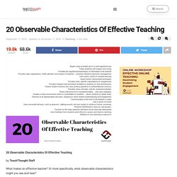20 Observable Characteristics Of Effective Teaching -