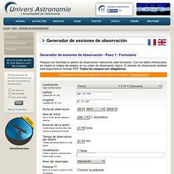 Generador de sesiones de observación - Univers Astronomie
