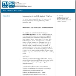 EOWAVE - Earth Observation of Water and Vegetation: Job opportunity for PhD-student, TU Wien