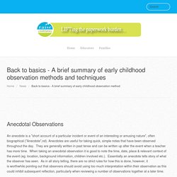 Back to basics - A brief summary of early childhood observation methods and techniques