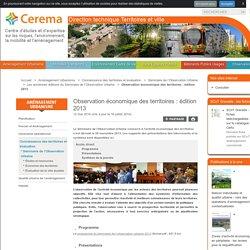 Observation économique des territoires: édition 2013 - Direction technique Territoires et ville