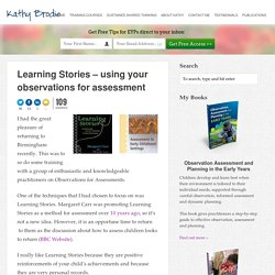 Learning Stories – using your observations for assessment