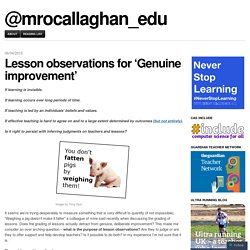 Lesson observations for 'Genuine improvement'