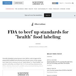"FDA to beef up standards for ""health"" food labeling"